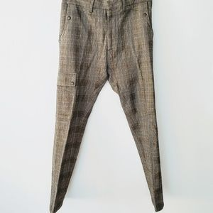 Zara Pants - ZARA Men Glenplaid Brown Slim Pant w/Cargo Pocket